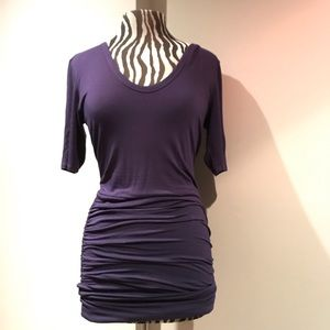 Deep purple dress with Ruching